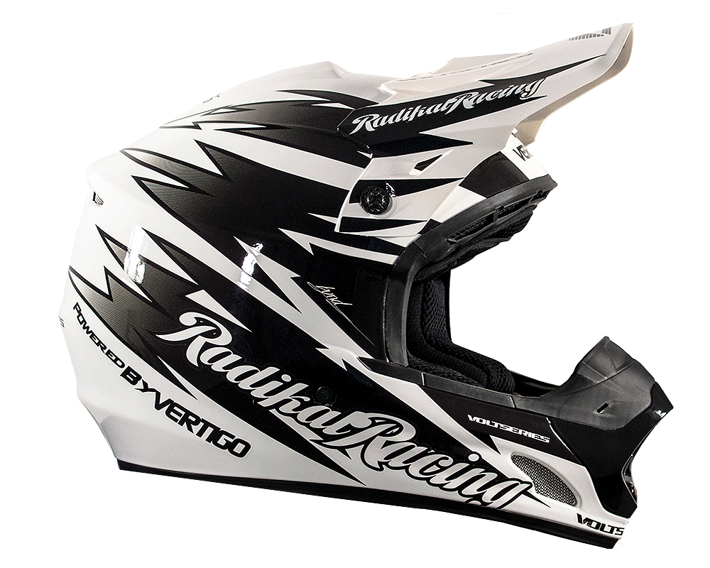 CASCO CROSS RADIKAL POWERED BY NEGRO/BLANCO